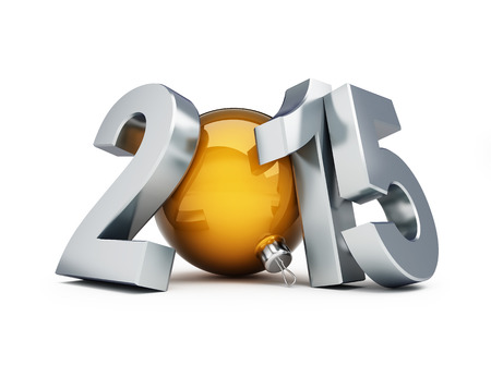 happy new year 2015 3d Illustrations on a white  illustration