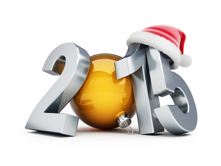 happy new year 2015 santa hat 3d Illustrations on a white