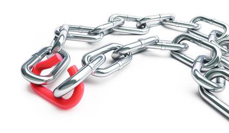 broken link: Broken chain link chain on a white background