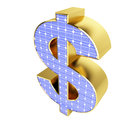 regenerative: solar panel dollar sign on a white background
