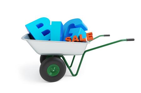 wheelbarrow big sale on white background photo