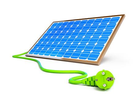 solar panel power plug on a white background photo