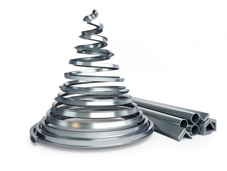 白い背景の上のクリスマス ツリー金属