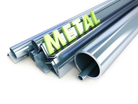 firmeza: tubos metálicos, ángulos, canales, plazas en un fondo blanco