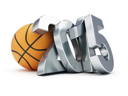 international basketball: basketball ball 2014 on a white background Stock Photo