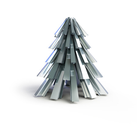 firmeza: de metal árbol de abeto sobre un fondo blanco