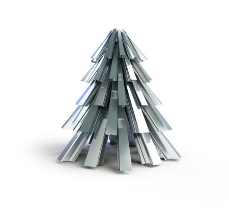 firmness: fir tree metal on a white background