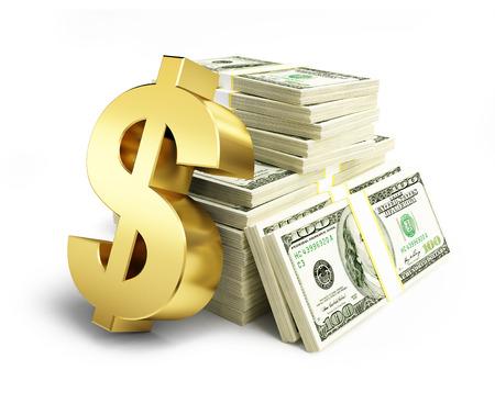 dinero: signo de d�lar pilas de d�lares en un fondo blanco