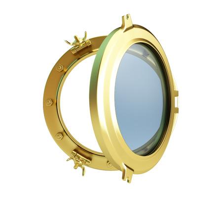 Bullauge Gold auf einem weißen Hintergrund geöffnet