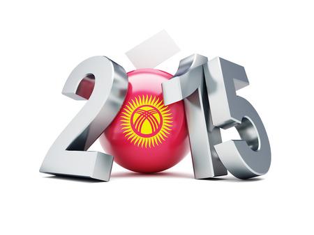 parlamentario: Las elecciones parlamentarias en Kirguist�n 2015 sobre un fondo blanco Foto de archivo
