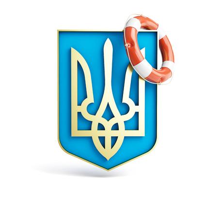 emblem of ukraine: emblem of ukraine lifebuoy on a white background.jpg Stock Photo