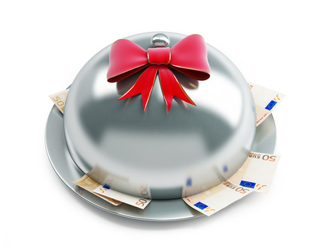 serving tray: tray euro money gift on a white background