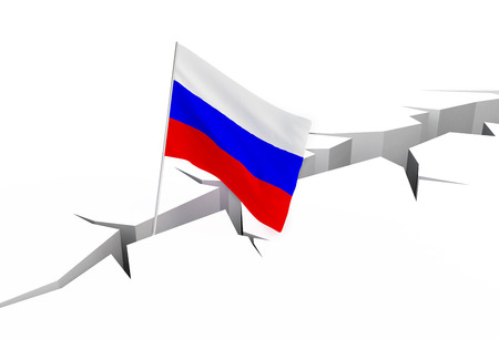 crevasse: russian flag falls into a crevasse on the ground