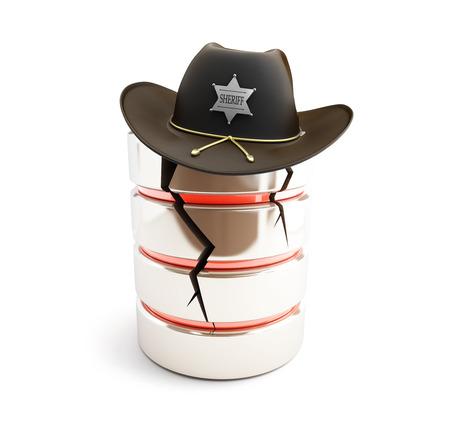 broken database, sheriff hat on a white background photo