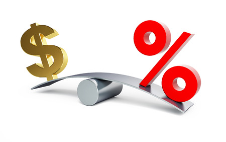 Dollar-Zeichen auf einer Schaukel mit einem Prozentzeichen auf weißem Hintergrund