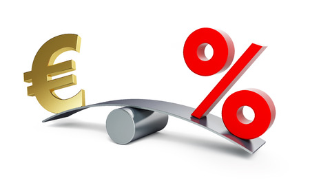 euro sign: euro sign on a swing with a percent sign on a white background