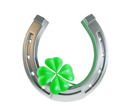 lucky clover: St. Patricks day silver horseshoe