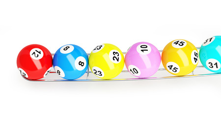 lottery balls on a white background Stock Photo