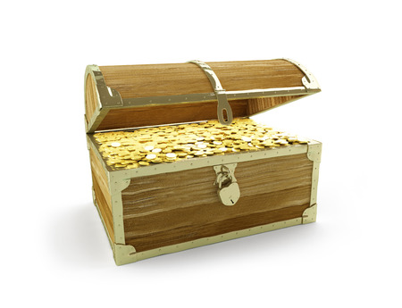 goldbars: old trunk full of treasures on a white background