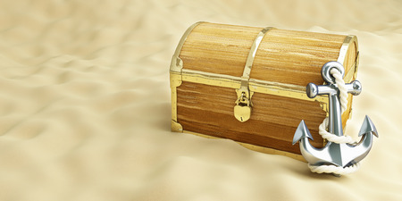 booty pirate: old trunk on the beach with an anchor on a background of sand