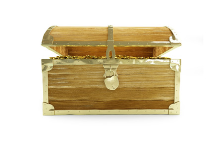 booty pirate: old open chest full of treasures on a white background