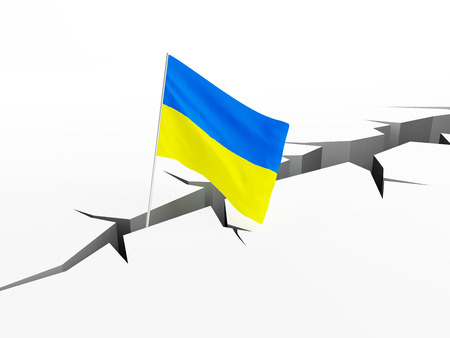 crevasse: Ukraine flag falls into a crevasse on the ground, the collapse of the hryvnia collapse of the economy, the default