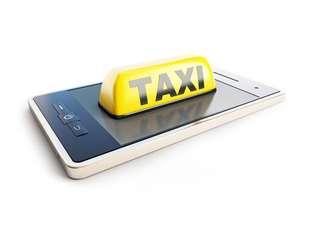yellow taxi: Taxi sign mobile phone on a white background Stock Photo