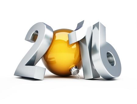 nowy: Szczęśliwego Nowego Roku 2016 3d ilustracje na białym tle Zdjęcie Seryjne