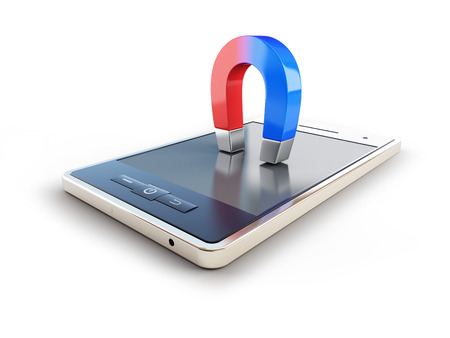 magnetic field: magnet mobile phone horseshoe on white background Stock Photo