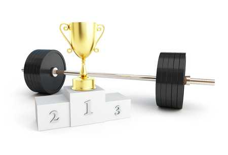 knurled: weightlifting champion on white background
