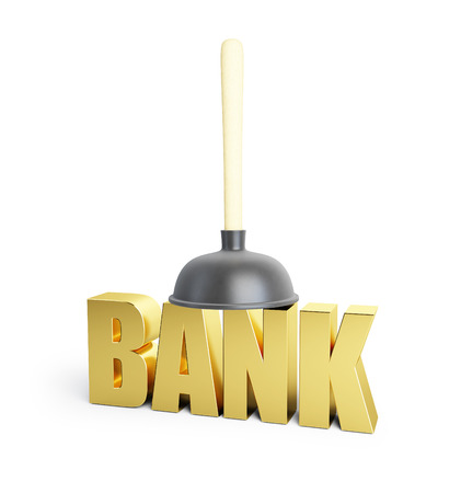 unblock: Problem banks, cleaning bank plunger. 3d Illustrations on a white background