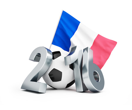 3d ball: France football 2016, flag of France. 3d Illustrations on a white background