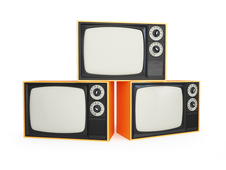 kinescope: old tv isolated on a white background Stock Photo