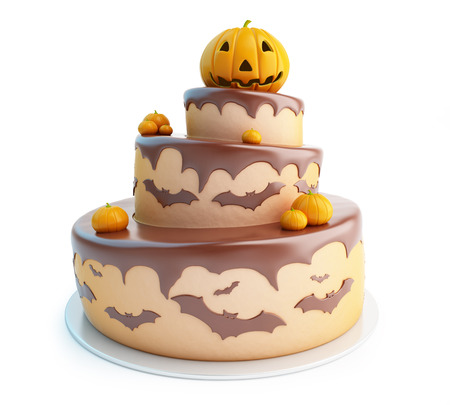 TORTA: torta de Halloween ilustraciones 3D sobre un fondo blanco Foto de archivo