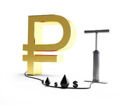 pomp: pomp ruble dollar oil. 3d Illustrations on a white background Stock Photo