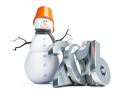 turns of the year: snowmen happy new year 2016. 3d Illustrations on a white background Stock Photo
