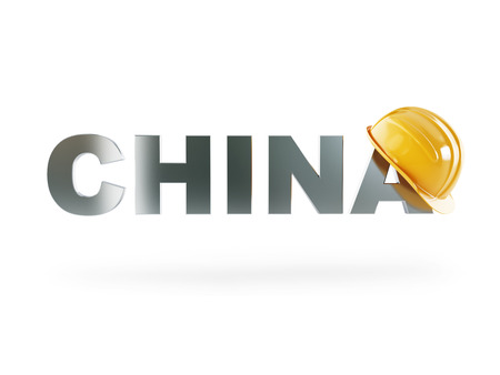 chine: chine safety helmet . 3d Illustrations on a white background