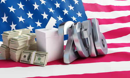 Price of the USA elections in 2016 criminal penalties for bribing voters.3d Illustrations Stock Photo