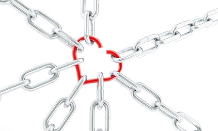 gaps: heart broken chains 3d Illustrations on a white background Stock Photo