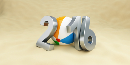 new years vacation: 2016 on the beach, beach ball. 3d Illustrations