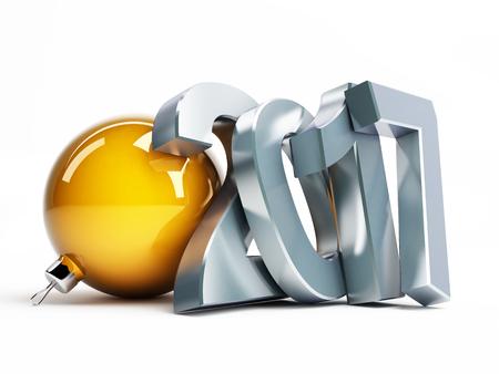 muerdago navideÃ?  Ã? Ã?±o: feliz nuevo año 2017 ilustraciones en 3D sobre un fondo blanco