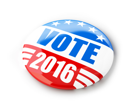 Abstimmen Wahlkampf Abzeichen Schaltfläche für 2016 3D-Illustrationen auf einem weißen Hintergrund Standard-Bild