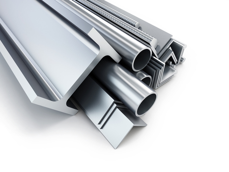 cromo: laminado de metal. Ilustraciones 3D sobre un fondo blanco