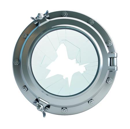 broken glass porthole 3d Illustrations on a white background