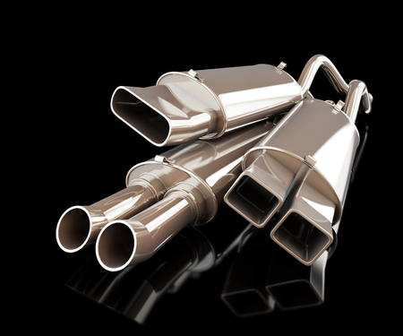 the silencer: exhaust silencer automobile muffler on a black background