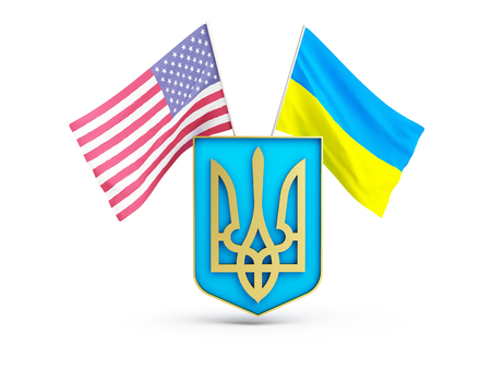 ukraine: usa flag and of ukraine on the background of the coat of arms