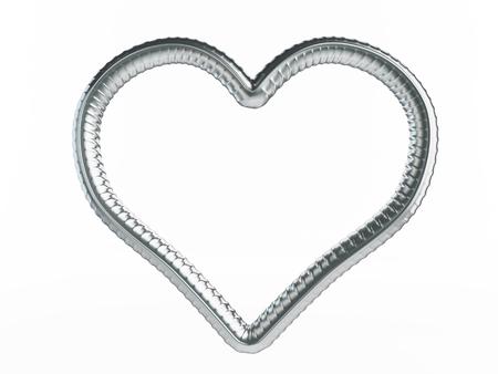 rejas de hierro: símbolo del corazón refuerzo. Ilustraciones 3D sobre un fondo blanco Foto de archivo