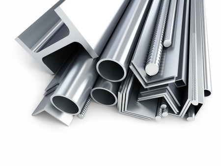 steadiness: rolled metal products, metal pipes, angles, channels, squares. 3d Illustrations on a white background