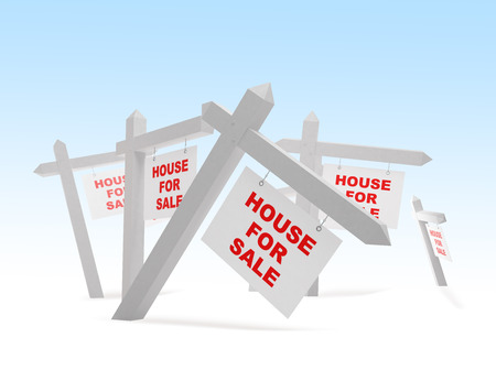 house construction: hose for sale 3d Illustrations on a white background