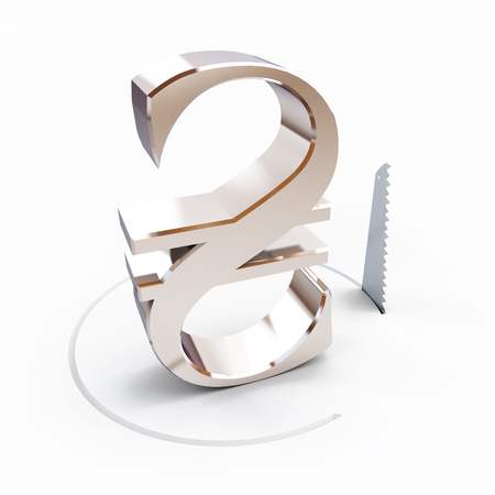 construction equipment: cutting a circle with a hand saw hryvnia sign on a white background